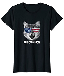 Meowica USA American Flag Cat T-Shirt 4th July Pet Gift
